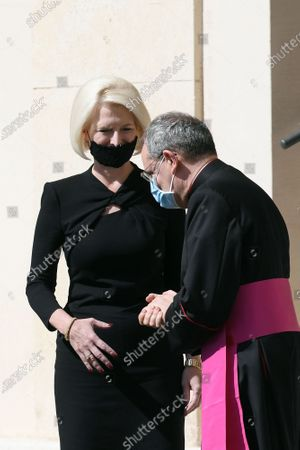 Callista Gingrich U.S. Ambassador to the Holy See with Mons. Joseph Murphy at the San Damaso courtyard