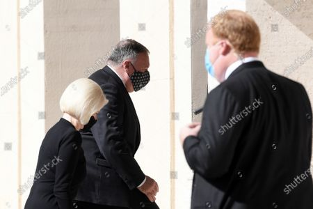 U.S. Secretary of State Mike Pompeo with Callista Gingrich U.S. Ambassador to the Holy See, arrives at the San Damaso courtyard to meet Vatican Secretary of State Cardinal Pietro Parolin, at the Vatican