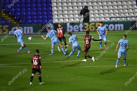 Jefferson Lerma of Bournemouth scores a goal to make it 0-1.