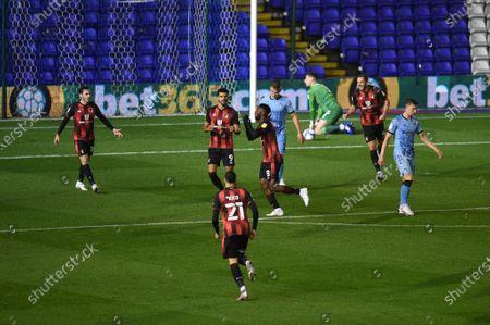 Jefferson Lerma of Bournemouth celebrates his goal.