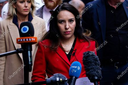 WikiLeaks founder Julian Assange's partner Stella Moris delivers a statement after an adjournment in his trial at the Old Bailey in London, Britain, 01 October 2020. Assange is fighting being extradited to the US on charges relating to leaks of classified documents allegedly exposing war crimes and abuse.