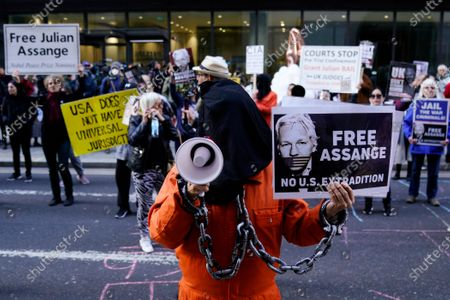 Supporters protest outside the trial of WikiLeaks founder Julian Assange at the Old Bailey in London, Britain, 01 October 2020. Assange is fighting being extradited to the US on charges relating to leaks of classified documents allegedly exposing war crimes and abuse.