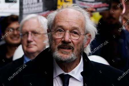 John Shipton, the father of WikiLeaks founder Julian Assange, delivers a statement outside the Old Bailey in London, Britain, 01 October 2020. Julian Assange is fighting being extradited to the US on charges relating to leaks of classified documents allegedly exposing war crimes and abuse.