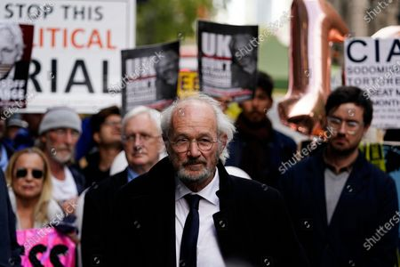 Stock Picture of John Shipton, the father of WikiLeaks founder Julian Assange, delivers a statement outside the Old Bailey in London, Britain, 01 October 2020. Julian Assange is fighting being extradited to the US on charges relating to leaks of classified documents allegedly exposing war crimes and abuse.