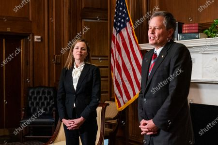 Judge Amy Coney Barrett (L), President Trump's nominee for Supreme Court, during a meeting with Senator Steve Daines at the United States Capitol Building in Washington, DC, USA, 01 October 2020.