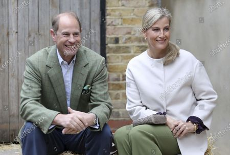 Stock Image of Britain's Prince Edward and Sophie, Countess of Wessex visit Vauxhall City Farm in London, to see the farm's community engagement and education programmes as the farm marks the start of Black History Month