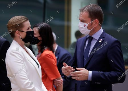 Danish Prime Minister Mette Frederiksen and Slovakia's Prime Minister Peter Pellegrini (R) at the start of second face-to-face EU summit since the coronavirus disease (COVID-19) outbreak, in Brussels, Belgium, 01 October 2020. During this Special European Council, EU leaders will discuss foreign affairs, in particular relations with Turkey and the situation in the Eastern Mediterranean. The leaders are also expected to address relations with China, the situation in Belarus and the poisoning of Alexei Navalny.