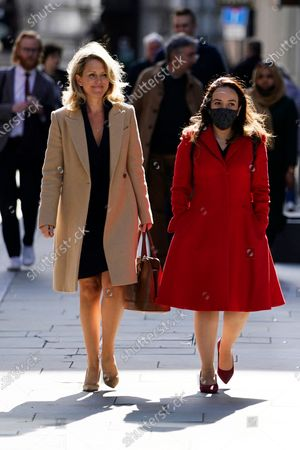WikiLeaks founder Julian Assange's partner, Stella Moris (R), and lawyer for Mr Assange, Jennifer Robinson (L), attend his trial at the Old Bailey in London, Britain, 01 October 2020. Assange is fighting being extradited to the US on charges relating to leaks of classified documents allegedly exposing war crimes and abuse.