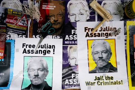 Posters made by supporters as they protest outside the trial of Wikileaks founder Julian Assange at the Old Bailey in London, Britain, 01 October 2020. Assange is fighting being extradited to the US on charges relating to leaks of classified documents allegedly exposing war crimes and abuse. EPA-