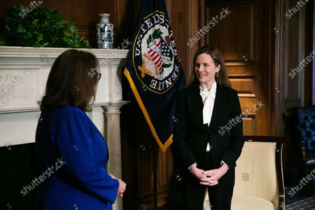 Judge Amy Coney Barrett, President Donald Trumps nominee for the U.S. Supreme Court, meets with Sen. Deb Fischer, R-Neb., on Capitol Hill in Washington