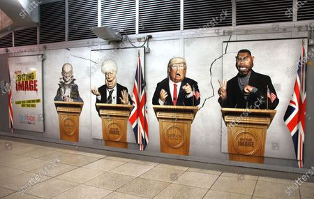 Editorial photo of Spitting Image caricatures inside Westminster Tube Station, London, UK - 30 Sep 2020
