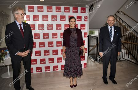 Stock Picture of Crown Princess Victoria is greeted by Jan Eliasson, former Deputy Secretary-General of the United Nations, while visiting Stockholm International Peace Research Institute (SIPRI)