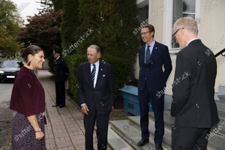 Crown Princess Victoria is greeted by Jan Eliasson, former Deputy Secretary-General of the United Nations, while visiting Stockholm International Peace Research Institute (SIPRI)