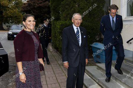 Stock Image of Crown Princess Victoria is greeted by Jan Eliasson, former Deputy Secretary-General of the United Nations, while visiting Stockholm International Peace Research Institute (SIPRI)