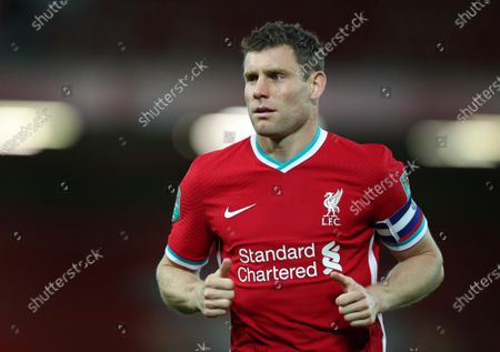 James Milner of Liverpool; Anfield, Liverpool, Merseyside, England; English Football League Cup, Carabao Cup, Liverpool versus Arsenal.