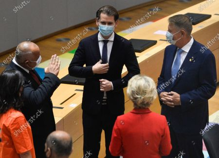 Bulgarian Prime Minister Boyko Borissov, Austria's Chancellor Sebastian Kurz and Romanian President Klaus Iohannis attend the second face-to-face EU summit since the coronavirus disease (COVID-19) outbreak