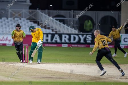 WICKET - Alex Hales is bowled by Callum Parkinson during the Vitality T20 Blast Quarter Final match between Notts Outlaws and Leicestershire Foxes at Trent Bridge, Nottingham