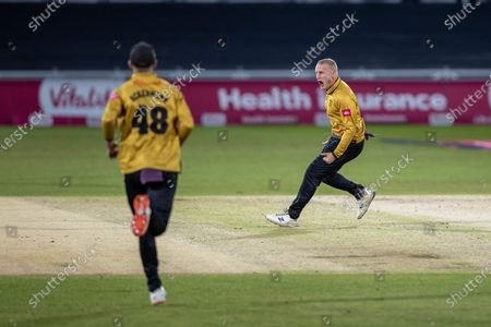 Callum Parkinson celebrates the wicket of Alex Hales during the Vitality T20 Blast Quarter Final match between Notts Outlaws and Leicestershire Foxes at Trent Bridge, Nottingham