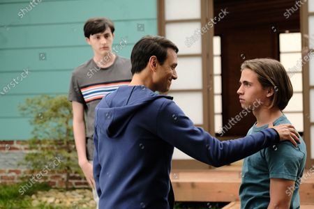 Gianni Decenzo as Demetri, Ralph Macchio as Daniel LaRusso and Tanner Buchanan as Robby Keene