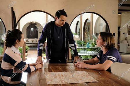 Mary Mouser as Samantha LaRusso, Ralph Macchio as Daniel LaRusso and Tanner Buchanan as Robby Keene