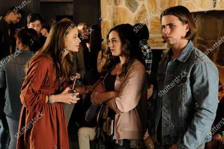 Hannah Kepple as Moon, Mary Mouser as Samantha LaRusso and Tanner Buchanan as Robby Keene