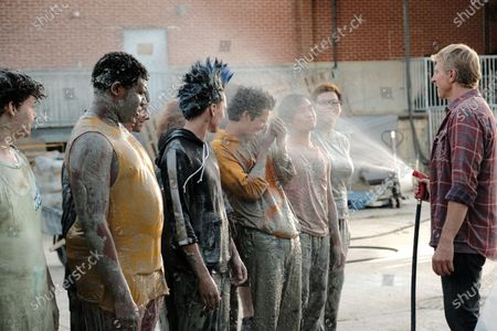 Stock Picture of Khalil Everage as Chris, Jacob Bertrand as Hawk/Eli, Xolo Mariduena as Miguel Diaz, Nichole Brown as Aisha and William Zabka as Johnny Lawrence