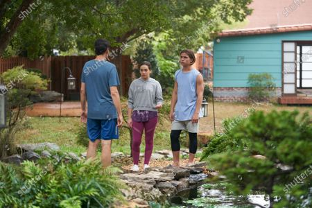 Ralph Macchio as Daniel LaRusso, Mary Mouser as Samantha LaRusso and Tanner Buchanan as Robby Keene