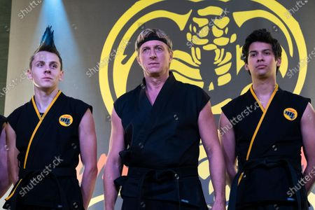 Stock Image of Jacob Bertrand as Hawk/Eli, William Zabka as Johnny Lawrence and Xolo Mariduena as Miguel Diaz