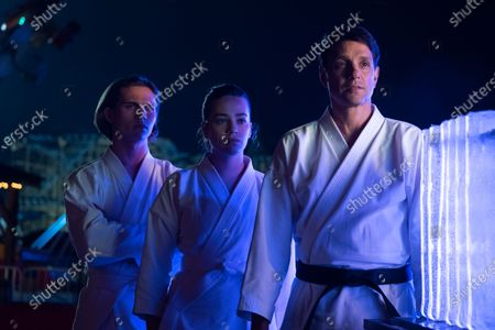 Tanner Buchanan as Robby Keene, Mary Mouser as Samantha LaRusso and Ralph Macchio as Daniel LaRusso