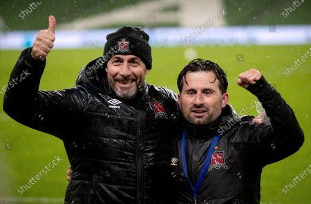 Dundalk vs Ki Klaksvik. Dundalk interim head coach Filippo Giovagnoli and assistant coach Giuseppe Rossi celebrate winning