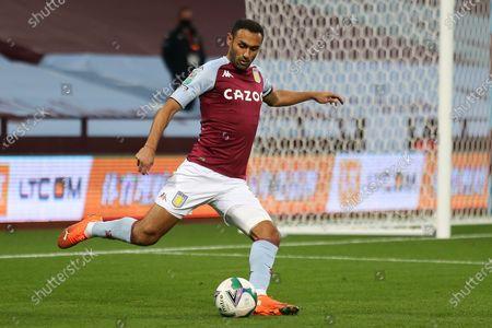 Ahmed Elmohamady of Aston Villa (27) kicking the ball during the EFL Cup match between Aston Villa and Stoke City at Villa Park, Birmingham