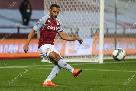 Ahmed Elmohamady of Aston Villa (27) with the ball during the EFL Cup match between Aston Villa and Stoke City at Villa Park, Birmingham