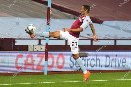 Ahmed Elmohamady of Aston Villa (27) controlling the ball during the EFL Cup match between Aston Villa and Stoke City at Villa Park, Birmingham