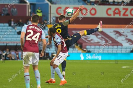 Sam Vokes of Stoke City (9) battles with Ahmed Elmohamady of Aston Villa (27) during the EFL Cup match between Aston Villa and Stoke City at Villa Park, Birmingham