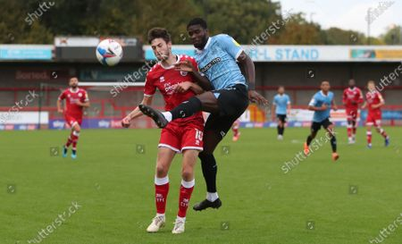 Crawley Town's Ashley Nadesan challenges Southend's Richard Taylor  during the Sky Bet League Two match between Crawley Town and Southend United at the People's Pension Stadium in Crawley . 03 October 2020