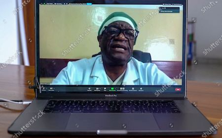 Stock Photo of This image made from video shows Congolese Nobel Peace Prize winner Dr. Denis Mukwege at the Panzi Hospital he founded in Bukavu in eastern Congo, to treat survivors of sexual violence, being interviewed by The Associated Press by video call from Dakar, Senegal . Mukwege says mass atrocities, including widespread sexual violence, continue to go unpunished in his country and an international criminal tribunal is urgently needed to prosecute those crimes