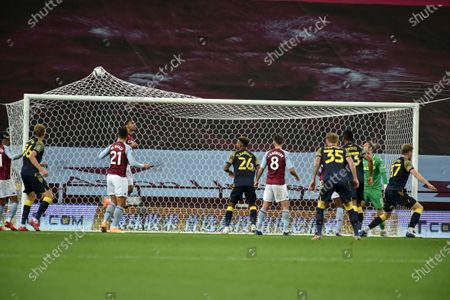Sam Vokes of Stoke City scores the 1-0 lead during the English Carabao Cup 4th round soccer match between Aston Villa and Stoke City in Birmingham, Britain, 01 October 2020.