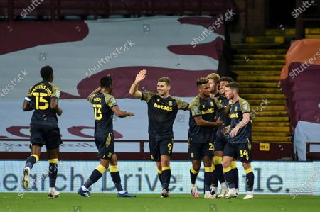 Sam Vokes (C) of Stoke City celebrates with teammates after scoring the 1-0 lead during the English Carabao Cup 4th round soccer match between Aston Villa and Stoke City in Birmingham, Britain, 01 October 2020.