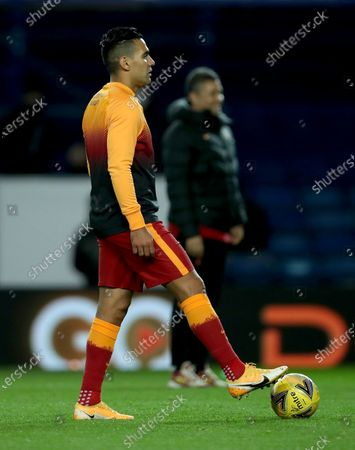 Radamel Falcao of Galatasaray warms up for the UEFA Europa League playoff soccer match between Glasgow Rangers and Galatasaray Istanbul in Glasgow, Britain, 01 October 2020.