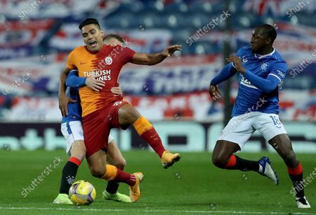 Radamel Falcao (front L) of Galatasaray in action against Rangers players Steven Davis (back L) and Glen Kamara (R) during the UEFA Europa League playoff soccer match between Glasgow Rangers and Galatasaray Istanbul in Glasgow, Britain, 01 October 2020.