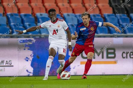 Valentin Stocker (R) from Basel and Bradley Mazikou (L) from Sofia in action during the UEFAe Europa League playoff soccer match between the FC Basel and CSKA Sofia at the St. Jakob Park Stadium in Basel, Switzerland, 01 October 2020.