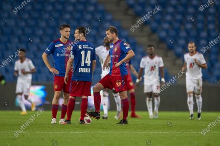 Valentin Stocker (C) of Basel and teammates react during the UEFA Europa League playoff soccer match between the FC Basel and CSKA Sofia at the St. Jakob Park Stadium in Basel, Switzerland, 01 October 2020.