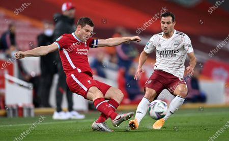Arsenal's Cedric Soares (R) in action against Liverpool's James Milner (L) during the English Carabao Cup 4th round soccer match between Liverpool FC and Arsenal FC in Liverpool, Britain, 01 October 2020.