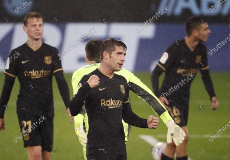 FC Barcelonas defender Sergi Roberto celebrates after scoring against Celta during a Spanish LaLiga soccer match between Celta de Vigo and FC Barcelona at Balaidos stadium in Vigo, northern Spain, 01 October 2020.