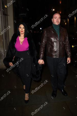 Jonathan Sothcott and Jeanine Nerissa Sothcott leaving Rowley's Restaurant Jermyn Street while filming new crime thriller Nemesis