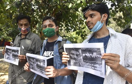 Ankit Acharya ( Blue shirt ) with other supporter of Sushant Singh Rajput, foot march from Delhi Airport Terminal 1 to Jantar Mantar demanding justice for Sushant and release of CBI investigation report on October 1, 2020 in New Delhi, India.