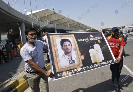 A group of people marching from Terminal 2 of Indira Gandhi International (IGI) Airport to Jantar Mantar with a banner demanding justice for Sushant Singh Rajput, on October 1, 2020 in New Delhi, India.