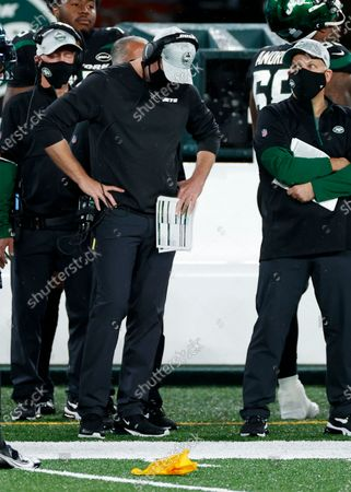 New York Jets head coach Adam Gase reacts against the Denver Broncos during an NFL football game, in East Rutherford, N.J