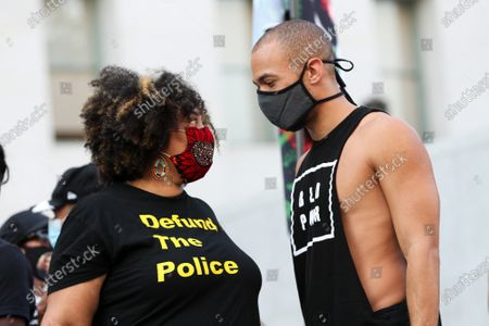 Tabatha Jones Jolivet and actor/activist Kendrick Sampson attend a 'Jackie Lacey Must Go' protest organized by Black Lives Matter in front of the Hall Of Justice