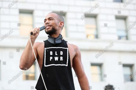 Actor and activist Kendrick Sampson attends a 'Jackie Lacey Must Go' protest organized by Black Lives Matter in front of the Hall Of Justice